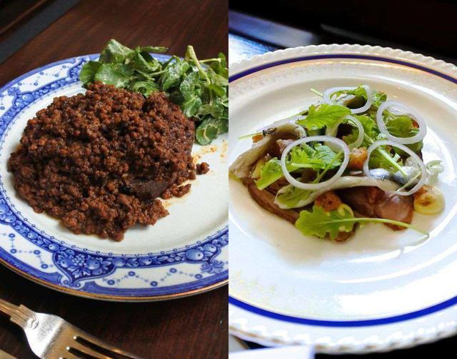 画像: 左は牛脂を塗ったトーストにミートソースをのせた店の看板メニュー。右はラム肉にアンチョビを合わせた前菜