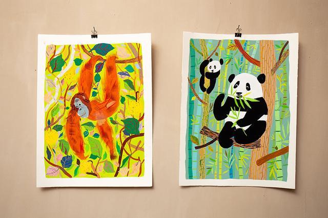 画像: 動物の原画は自宅に飾るために購入する方が多いそう。マッティの穏やかな眼差しが、描かれた動物たちの表情や仕草から感じられる