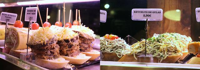 画像: ナスとベーコンとチーズのピンチョス(左)と、スペインならではの食材「グラス」のピンチョス(右)