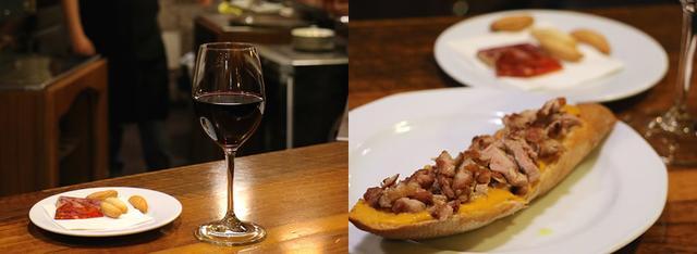 画像: グラスワインはもちろんテンプラニージョ。右のタパスは「ウズラ胸肉のグリル サルモレッホソース」