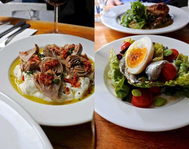 画像: アーティチョークとブラータチーズを使った斬新な一皿(左)と、丁寧につくられたアンチョビのサラダ(右)