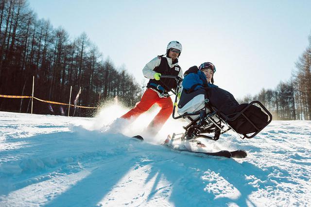 画像: デュアルスキーで滑走する中岡さん