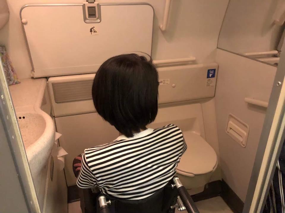 画像: 車いすのまま利用できる機内のトイレ