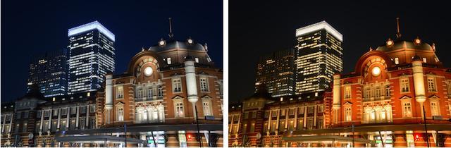 画像: 左がホワイトバランス「オート」、右が「晴天」に設定した場合