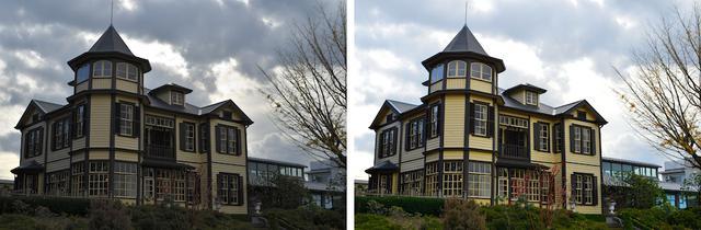 画像: 左は曇りの日、そのまま撮影したもの。右は露出補正を+の方向に調節し、明るく撮影した