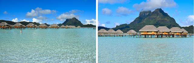 画像: 左の写真は、南の島の青い空と海が美しいものの、漠然とした印象。右は山を背景に大きく取り入れたことでインパクトのある写真になった