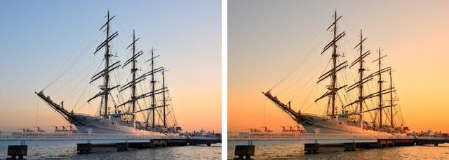 画像: 左がホワイトバランス「オート」、右が「晴天日陰」に設定した場合