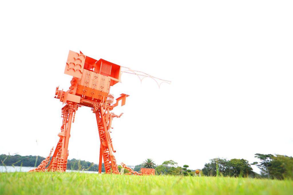 画像: 「彫刻の丘」に設置された「蟻の城」(向井良吉作)。「彫刻のまち宇部」のシンボル