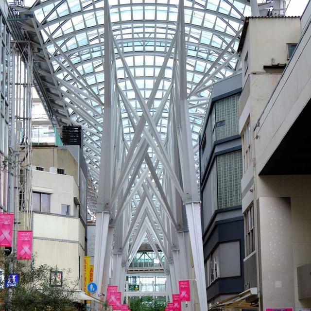画像: 高松駅方面から商店街のクリスタルドームを越えると「丸亀町商店街」となり、商店街が長く続きます。