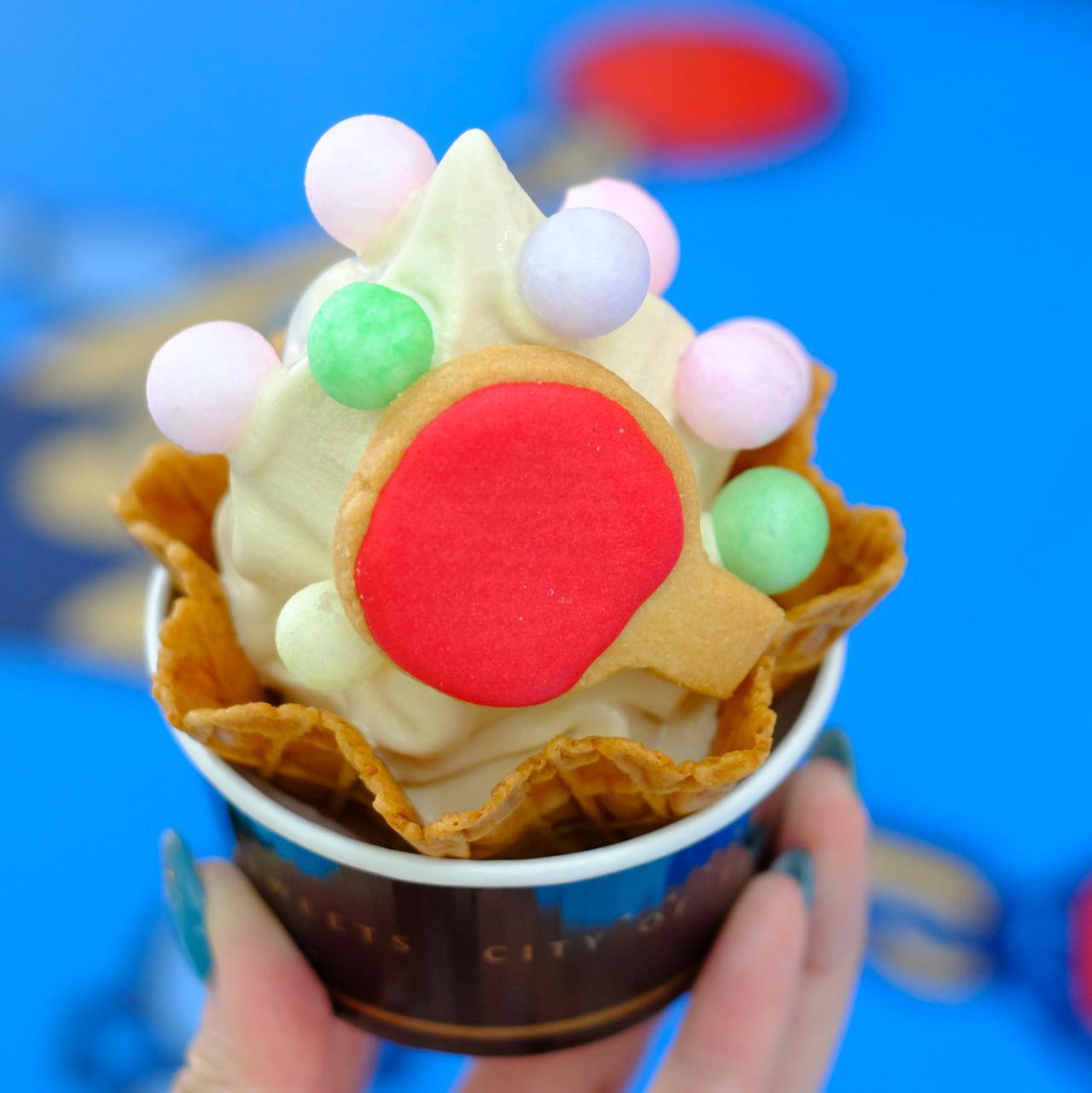 画像: このお店のソフトクリームは、伝統的製法で作られる「和三盆」を使用。この日はアート展示に関連した期間限定(瀬戸芸期間中)「ピンポンソフト」になっていました!
