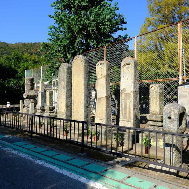 画像: 本島中学校の校庭脇にずらりと並ぶ、年寄「宮本家の墓」。宮本家は海外交易でも活躍した年寄の家系で、年寄が入札制になるまで、200年近く世襲により年寄役を務めていました。中央部の一番背の高い墓が初代で、それ以降の代は親よりも大きくしないという風習により、小さな墓石となっています。
