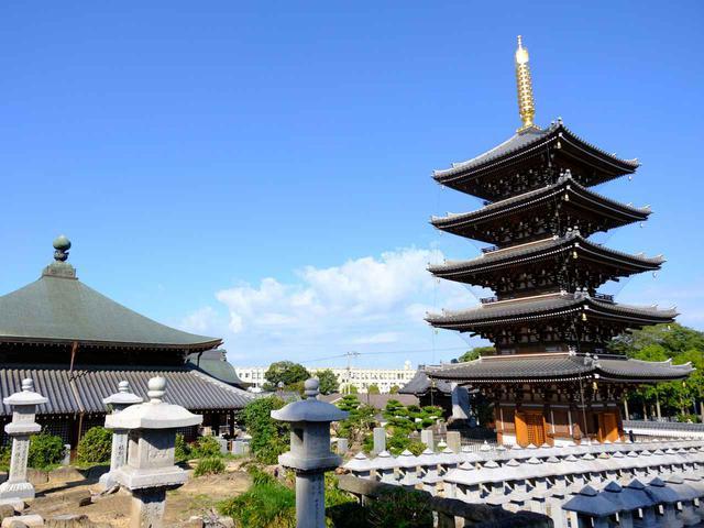 画像: 「仏生山法然寺」。仏生山駅から徒歩20分。江戸時代の初期、高松藩主によって創建されたお寺です。写真の五重塔は2011年法然上人没後800年を記念し、伝統的な木造様式、総檜造りで造られました。
