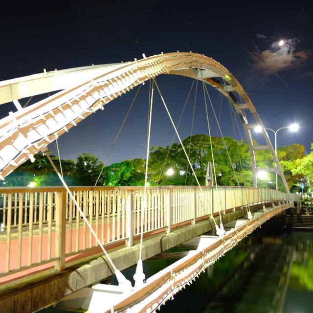 画像: しっかり食べた後はライトアップされた「アルバカーキ橋」を通りながらホテルまで戻りました。この橋は、ニューメキシコ州アルバカーキ市との姉妹都市提携の折に架けられました。中心街の百貨店「玉屋」前の通りから佐世保公園へとつながります。日米の友好的な関係が、この橋のようにこれからも続いていくように、との願いが込められています。