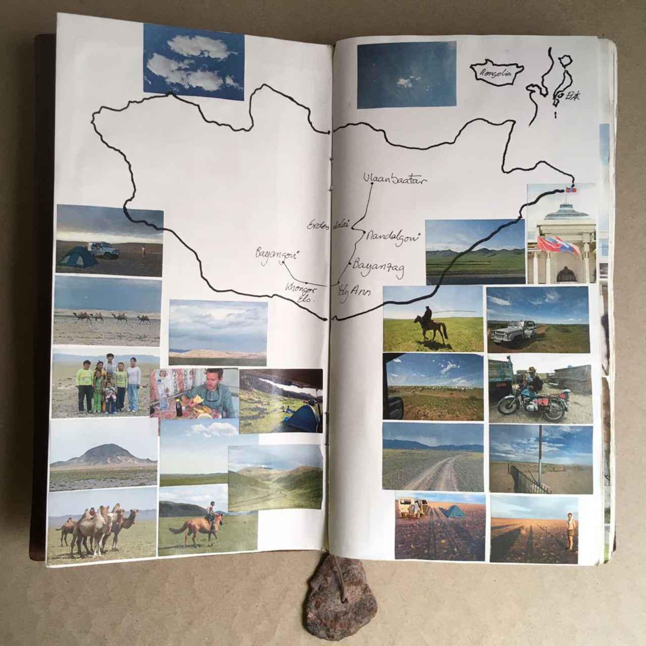 画像3: 旅行中に集めた写真やものを組み合わせ、ページをつくっていく