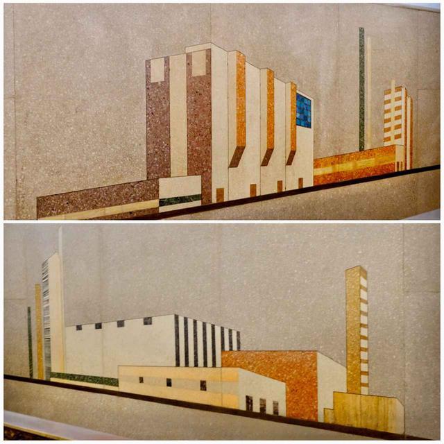 画像: ロビー壁面にあった大理石を組み合わせ造られた「未来の宇部」。村野藤吾が考えたこれからの街の姿。直線の幾何学的なデザインがモダンです。炭鉱の時代から工業の時代、そして未来の宇部へと、時代と共に成長する宇部を表した建物でした。