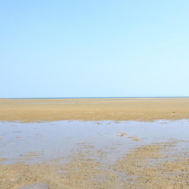 画像: ビーチはすっかり潮が引いて、海ははるか遠く。瀬戸内海の中でも広島、山口の海岸線は特に潮の干満差が大きいと言われています。なるほど、まさにこれがそうなのですね。