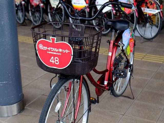 画像: 電動アシスト付きと普通の自転車両方が揃っていますが、坂道が少ない弘前では普通の自転車で十分です。市内に4か所返却できる場所があるので借りたところに返さなくてもOK。
