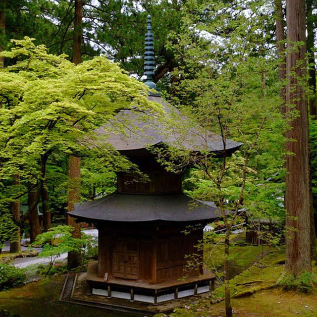 画像: 写経を納める「納経塔」。緑に囲まれひっそりと佇んでいます。