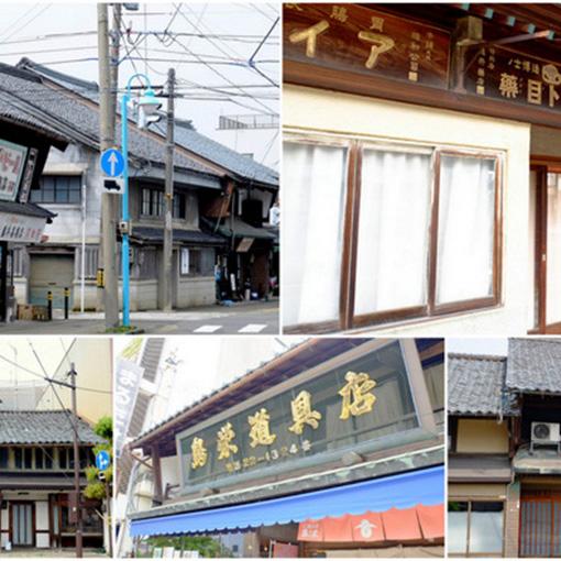 画像: 武生駅から少し歩いただけで、北陸地方に良くある平入り(屋根の平らな方向に玄関がある)の住宅が連なります。古い看板なども見て歩くと楽しいです。