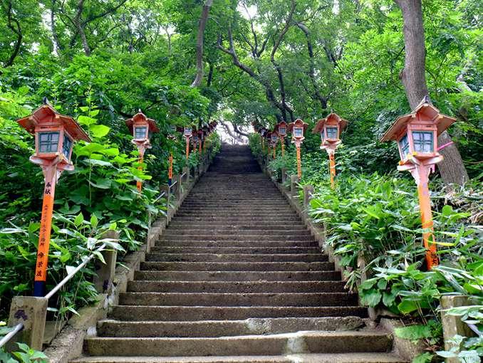 画像: 96段の階段を登って本殿へお参りです。