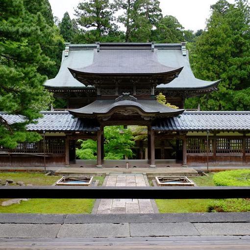 画像: 仏殿から見る山門方向。ちょうど山門と向き合う形となり、その間に中雀門が位置します。