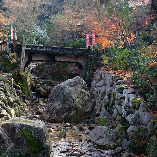 画像: 弥山から流れ出で、大聖院のふもとに流れる白糸川。水路を塞ぐかのような巨石が転がっています。