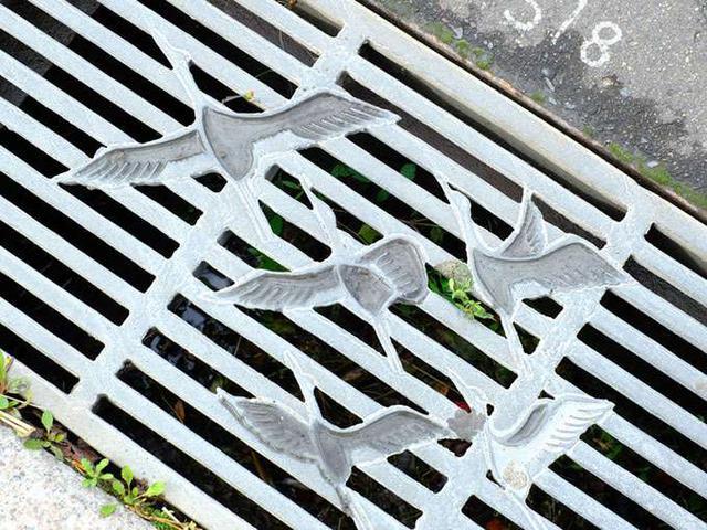 画像: 側溝のフタも…鶴!