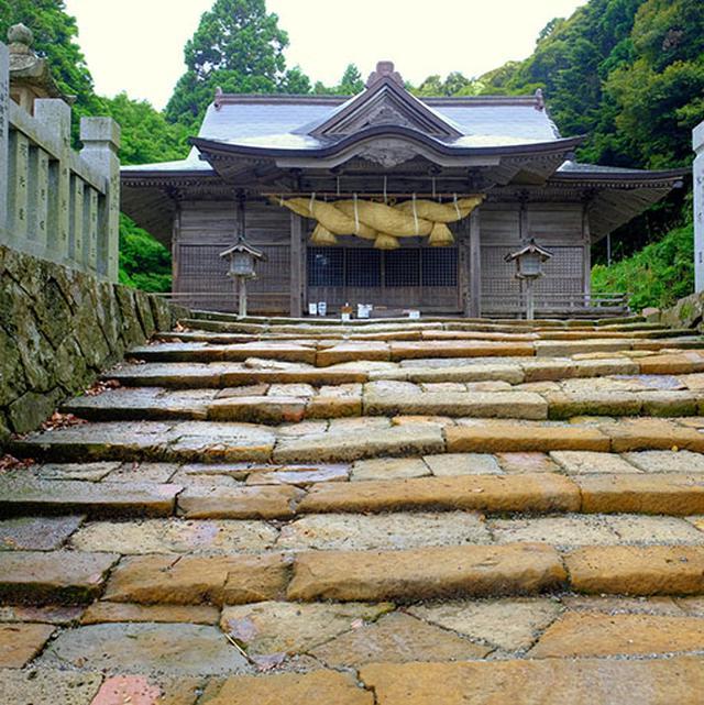 画像: 拝殿に向かう階段です。段差が浅くなっているのはこの神社で行われる「馬入れ神事」のため。狭い参道を馬が駆け抜ける迫力ある神事とのこと。一度見てみたいですね。