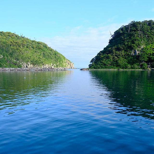 画像: 湾になっているので波もなく静か。朝の漁に出ていく船の音と鳥の声しか聞こえません。最高の朝です。右側の島は「弁天島」。ちょうどこの日はこの島にある神社のお祭りでした。