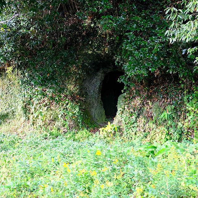 画像: 途中、横穴の古墳も!道路脇なのでまじまじと見学できます。戦時中には防空壕などとしても使われたということです。