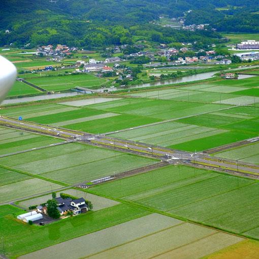 画像: 出雲平野の田畑の景色を見ながら、神秘的な大自然を持つ島へと向かいます。