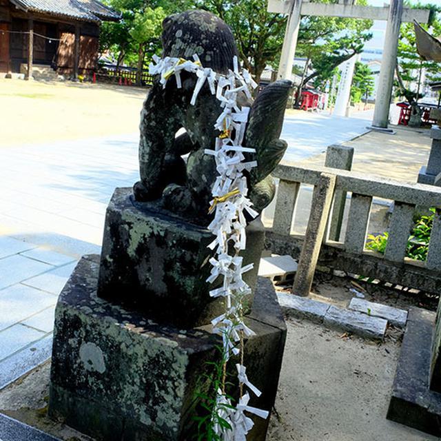 画像: 狛犬にかけられたしめ縄にはびっしりとおみくじが結び付けられています。ハワイのレイをかけているみたいに見える~。