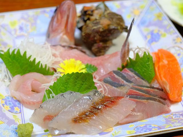画像: 民宿井の本のおとうさんが釣ってきてくれたお魚。きれいなお刺身。島根を代表するお魚の飛び魚、弾力あるハマチなど。