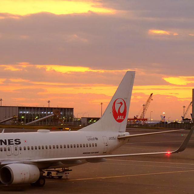 画像: 朝焼けの中、羽田空港を出発します。珍しく週末の出発で空港は混雑していました。