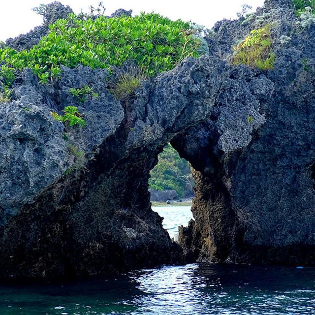 画像: 奇岩や浸食された岩なども見ることができますし、透明度高い海水で海底もガラス越しに楽しむことができます。乗船時間片道30分、あっという間に到着します。