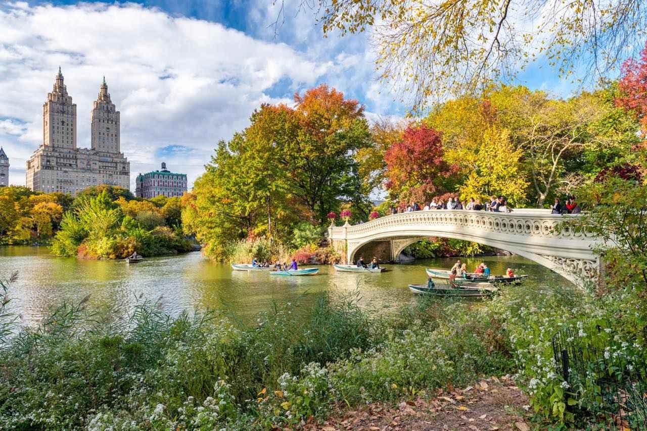 画像: 湖に架かるボウ・ブリッジ(Bow Bridge)は紅葉の名所 Shutterstock.com