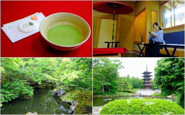 画像: お寺のお休み処「やすらぎ」では抹茶と和菓子が楽しめます。室内から五重塔がきれいに見え、また目の前の池では錦鯉が泳ぎます。