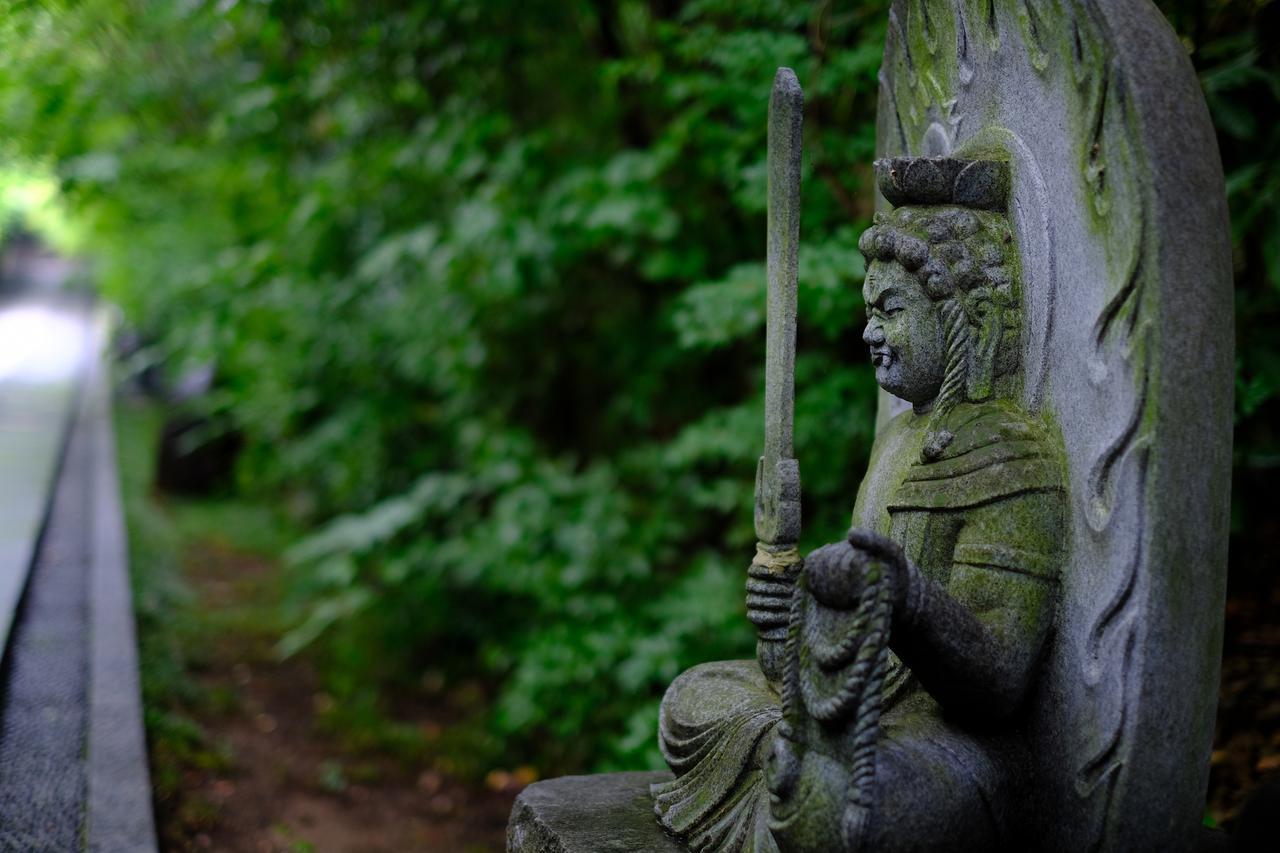 画像: この参道には精悍な顔つきの十三仏が置かれています。苔むした石像の姿が時の経過を感じさせます。