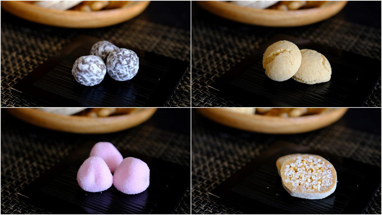 画像: (左上)うさぎ玉、(右上)マコロン、(左下)うめぼし、(右下)ごぼうきり。食感も形も様々。米や小麦を使った素朴なお菓子。