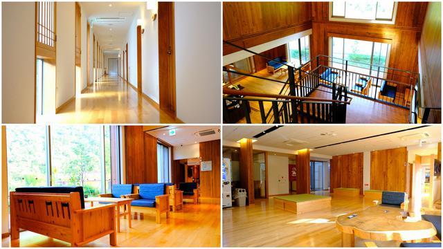 画像: 木のぬくもりを感じる優しい宿。施設はゆったり広々としており、落ち着く空間です。