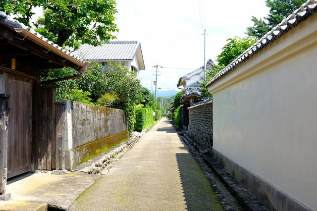 画像: 狭い道幅や石を組んで作られた側溝、白塀や生垣など、安芸の城下町独特の景観を観ることができました。
