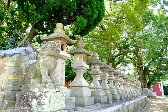 画像: 狛犬、燈籠が並び、大きな木々が茂る船守神社。