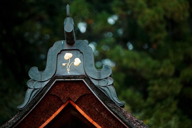 画像: 社殿の屋根を飾る葵の紋