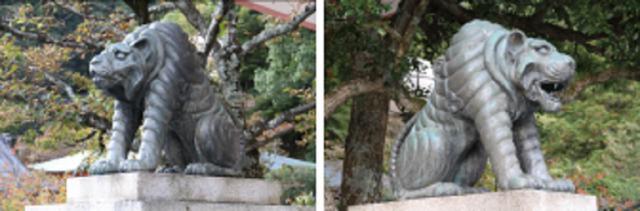画像: 本殿金堂前にいるのは、狛犬ではなく虎。虎は、毘沙門天王の使いなのだそう