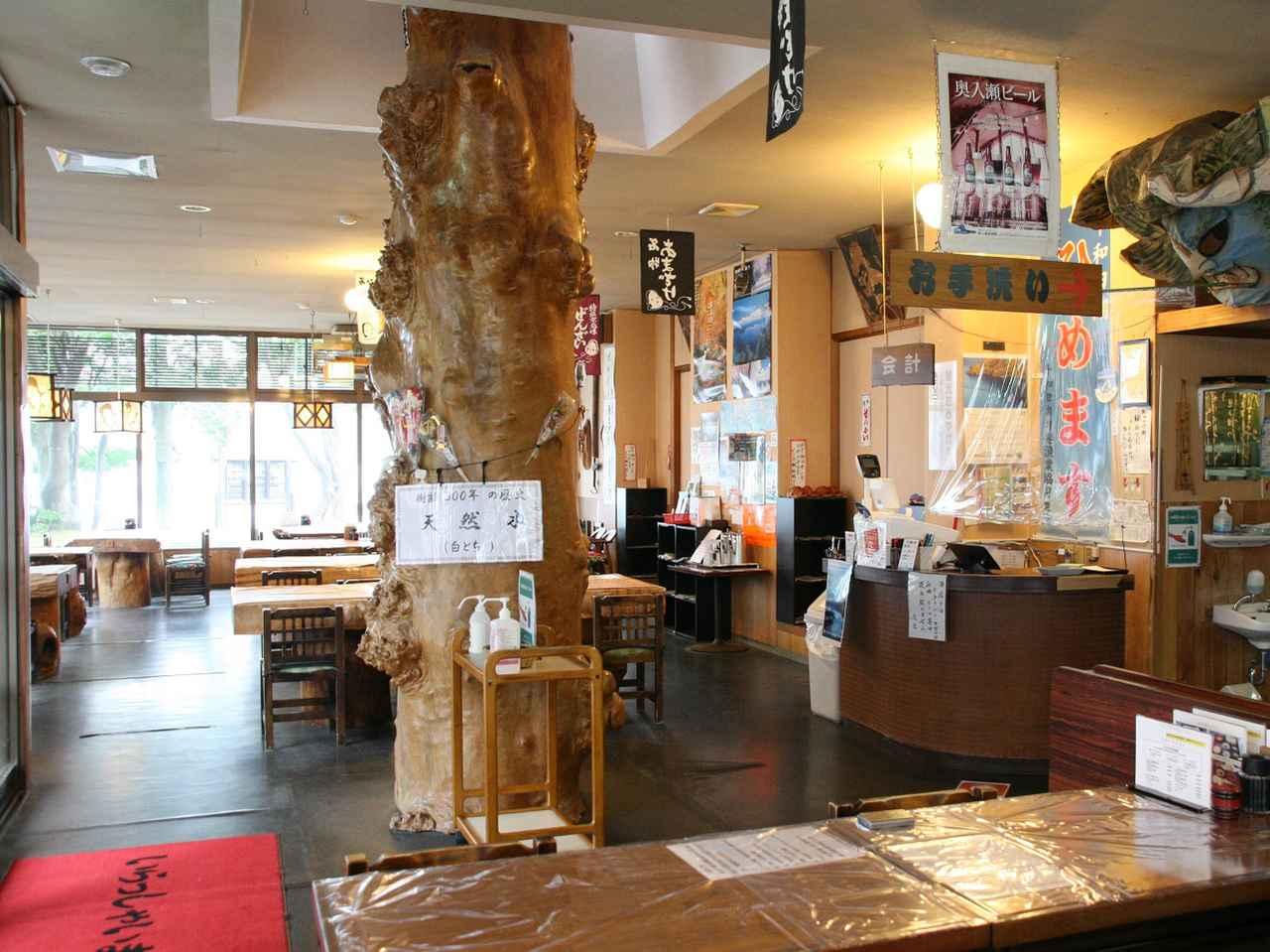 """画像: 白神山地から切り出した""""とちの木""""が店内に。テーブルもとちの木などを使用"""