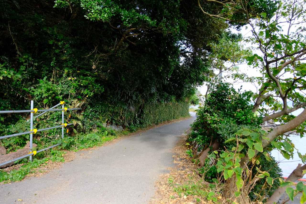 画像: 神社脇にある車両通行止めの看板を超えて、細い道を進んでいきます。