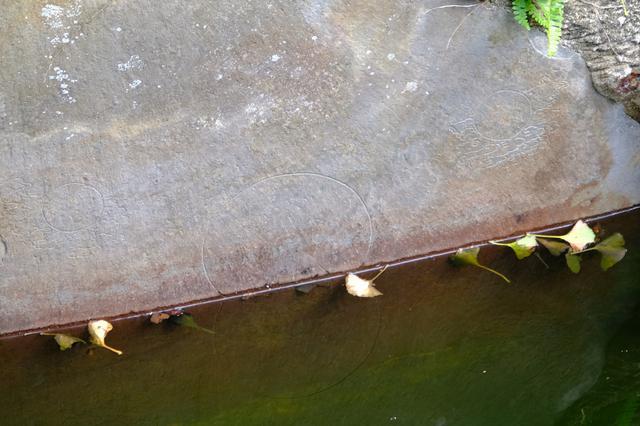 画像: 池の水を抜いてみたら…なんと巨石に繊細彫られた水神様の絵が出てきたそうです。水量は戻っていますが、頭の部分だけ、見ることができます。