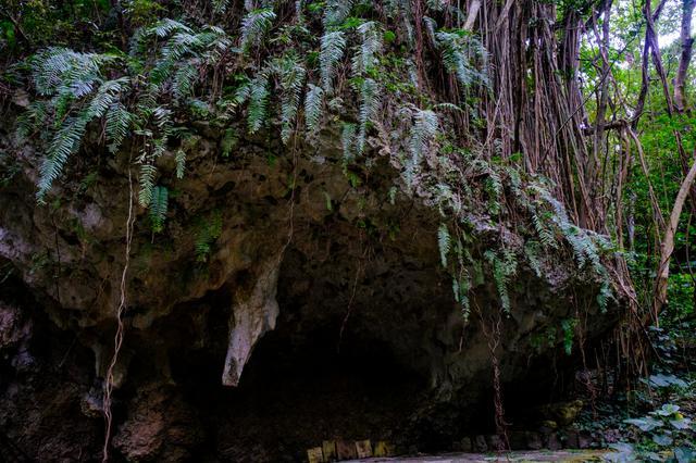 画像: 寄満(ゆいんち)は雨ごいの儀式や航海の安全などがお祈りされていた場所。鍾乳石は沖縄戦の爆撃で折れてしまいました。