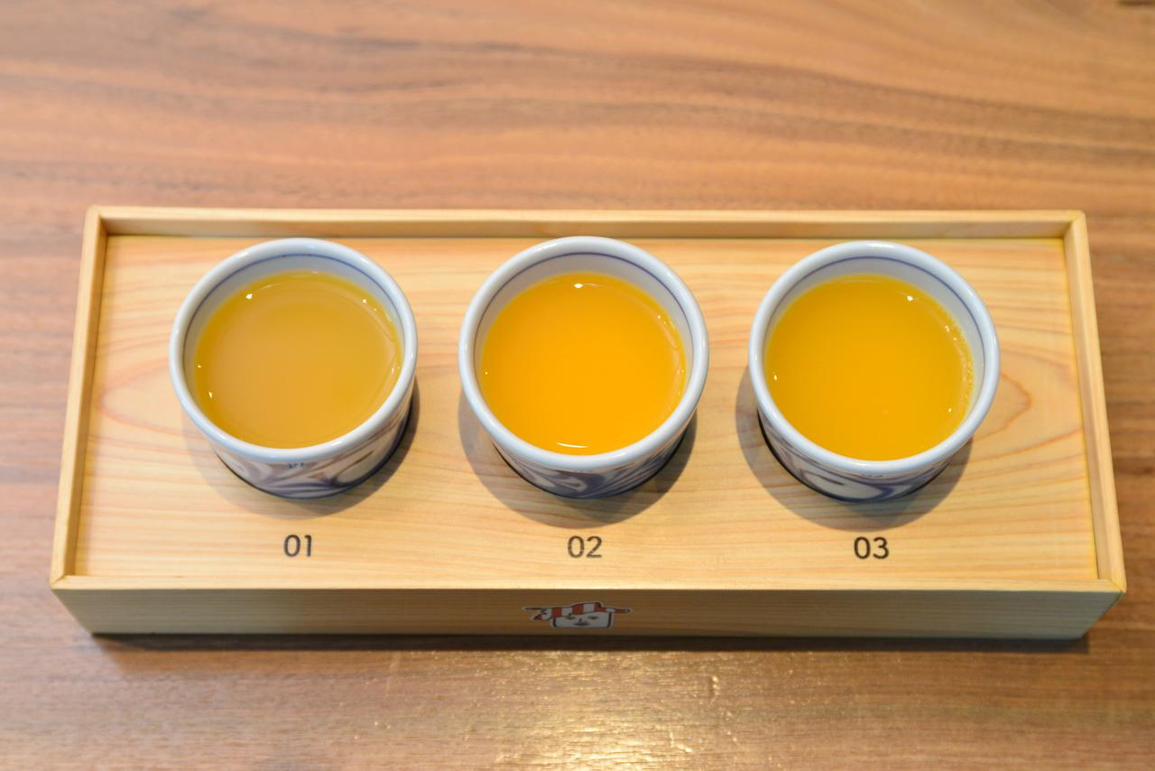 画像: 「愛媛みかんジュースの3種飲み比べセット」(693円・税込)。単品は594円(税込)でテイクアウトができます