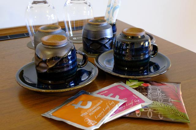 画像: 大谷焼のカップが用意されていました。